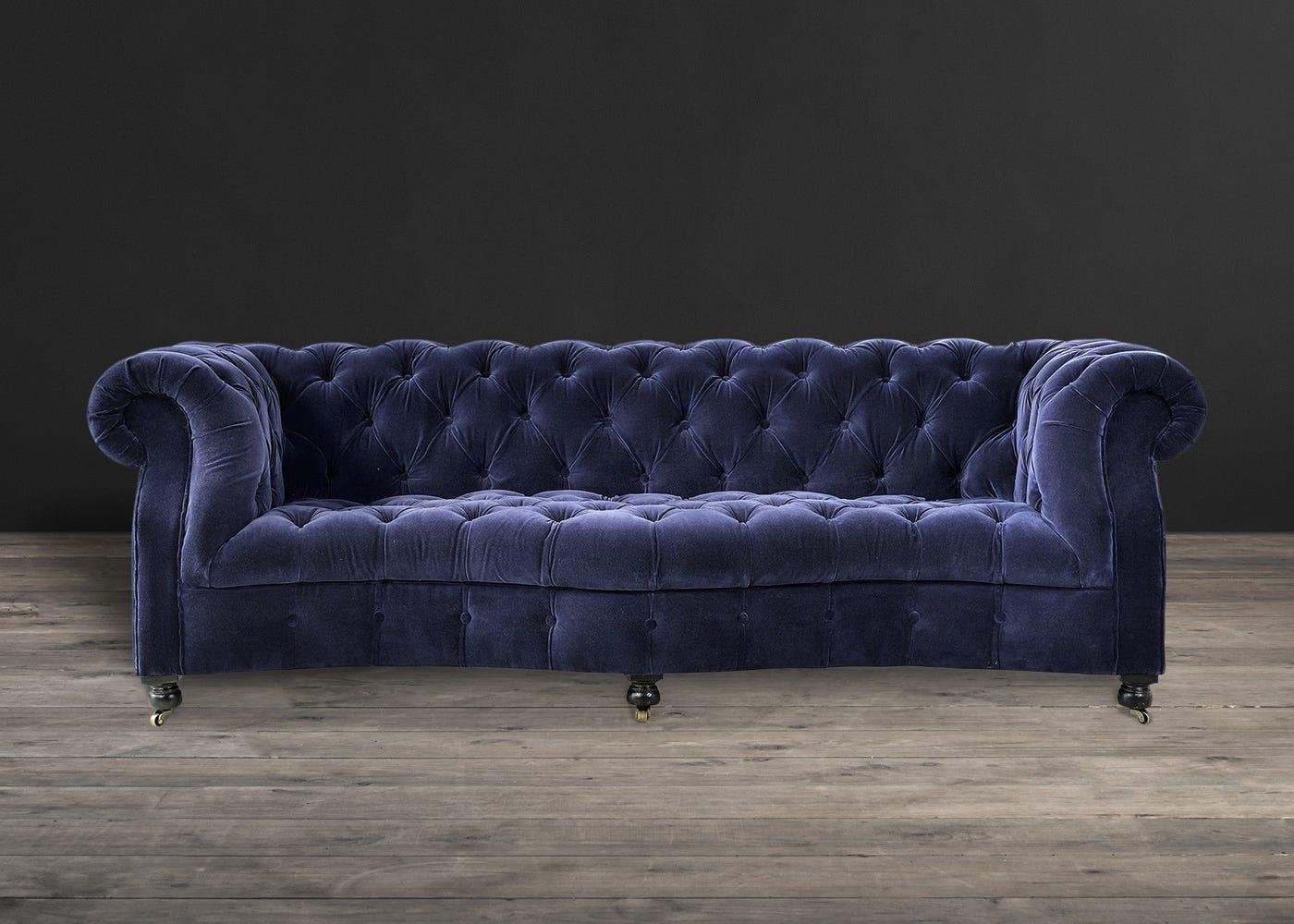 Serpentine 3 Seater Sofa Revival Velvet Navy