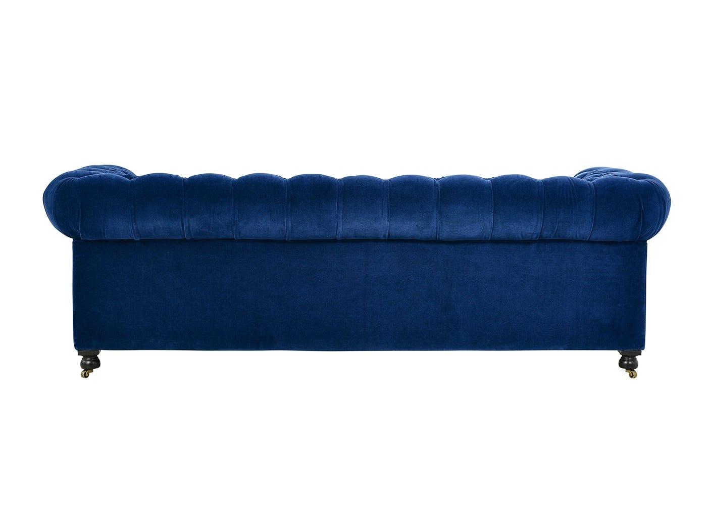 Serpentine 3 Seater Sofa Revival Velvet Navy - Back View