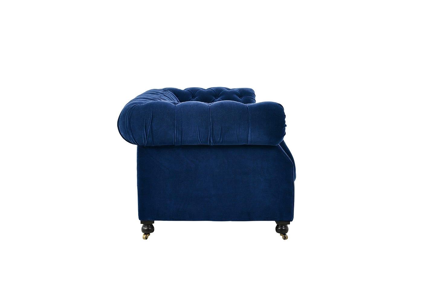 Serpentine 3 Seater Sofa Revival Velvet Navy - Side View