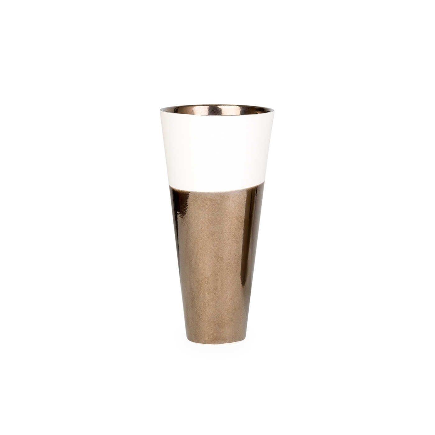 Dual Tone Conical Vase Cream & Metallic