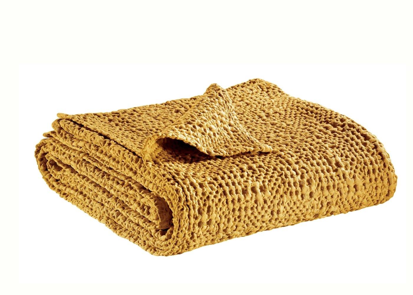 Tana Waffle bedspread in ochre