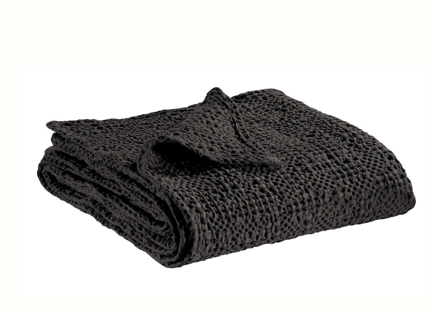Tana Waffle bedspread in charcoal