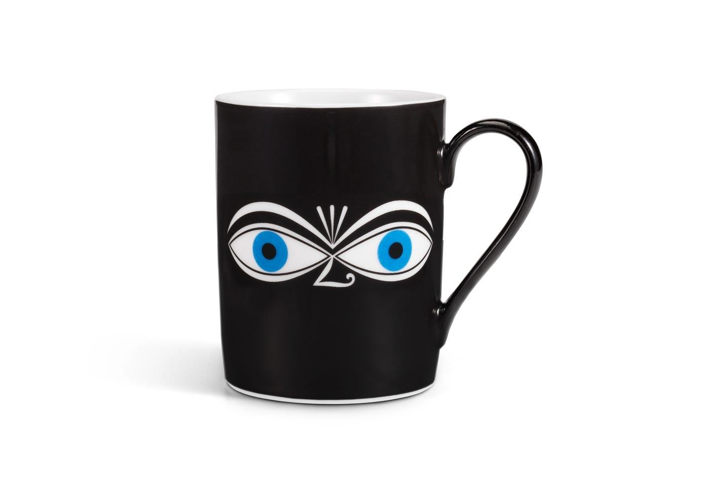 Coffee Mug Eyes Design by Alexander Girard in Blue