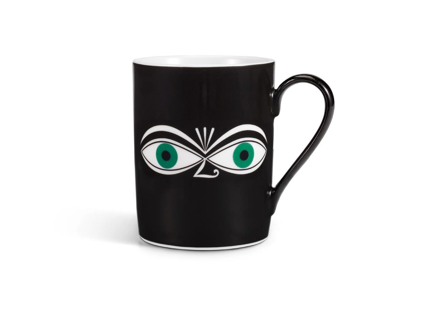 Coffee Mug Eyes Design by Alexander Girard in Green
