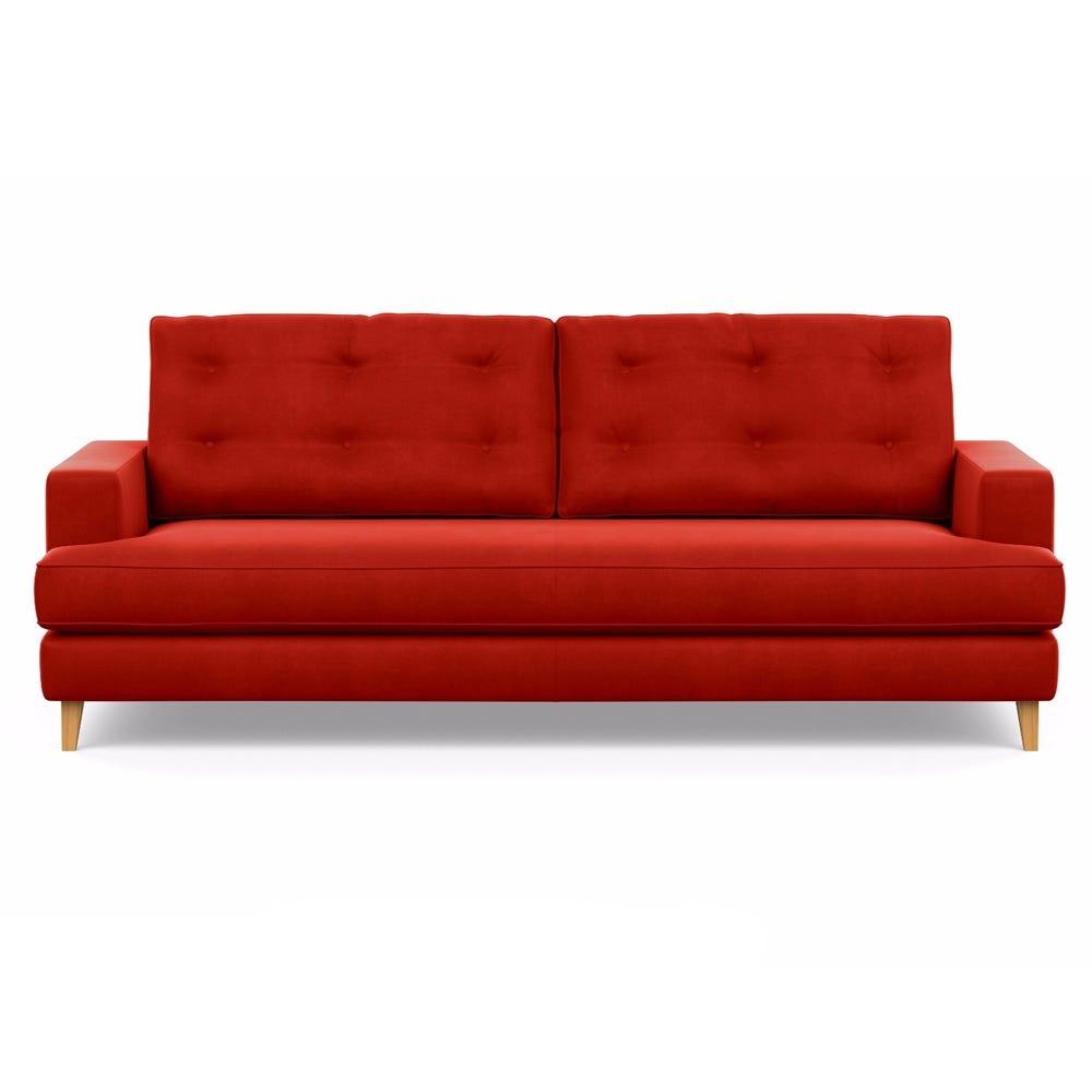 Mistral 4 Seater Sofa Varese Velvet Terracotta Natural Feet