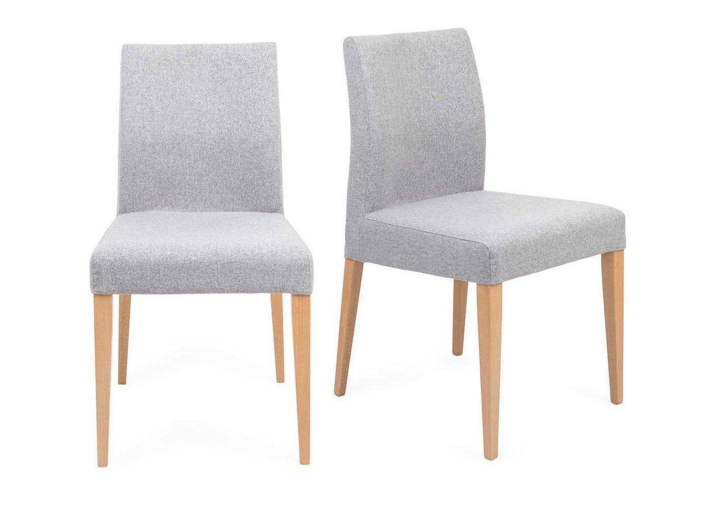 Hudson Pair of Dining Chairs Joshua Grey Natural Legs