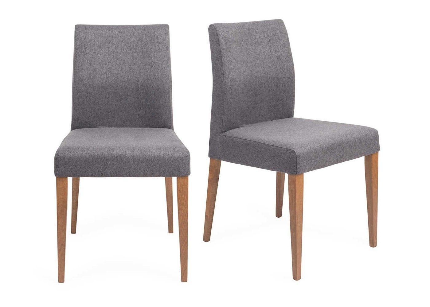Hudson Pair of Dining Chairs Joshua Charcoal Dark Stain Legs