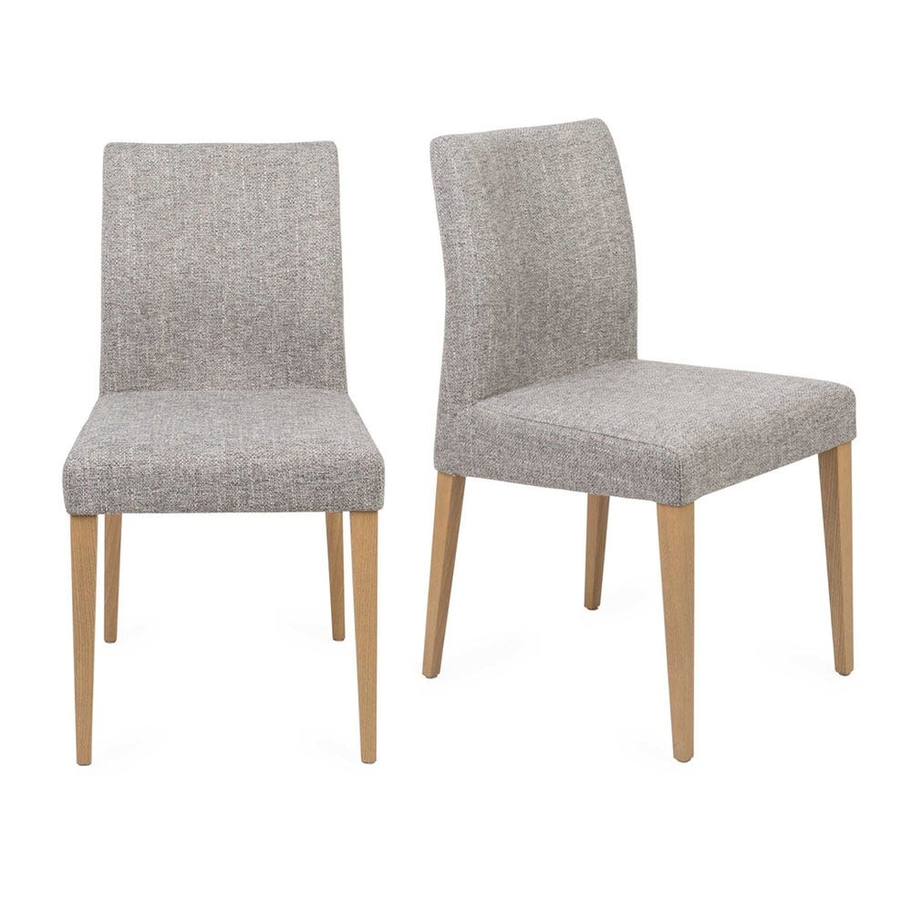 Hudson Pair of Dining Chairs Volcano Zinc Natural Legs