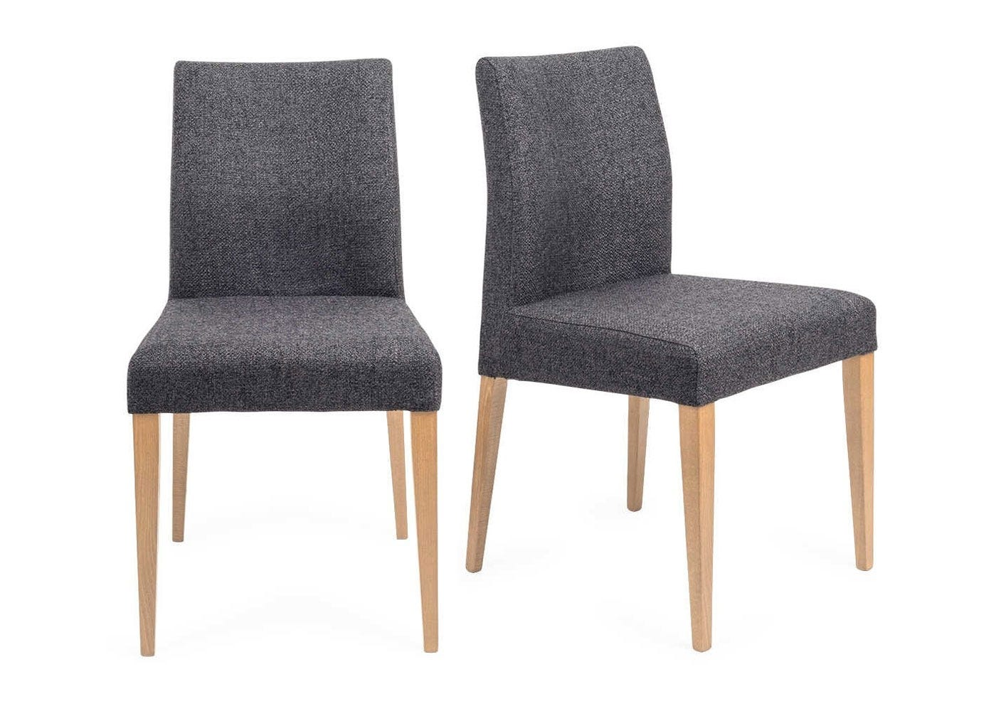Hudson Pair Of Dining Chairs Volcano Coal Natural Legs