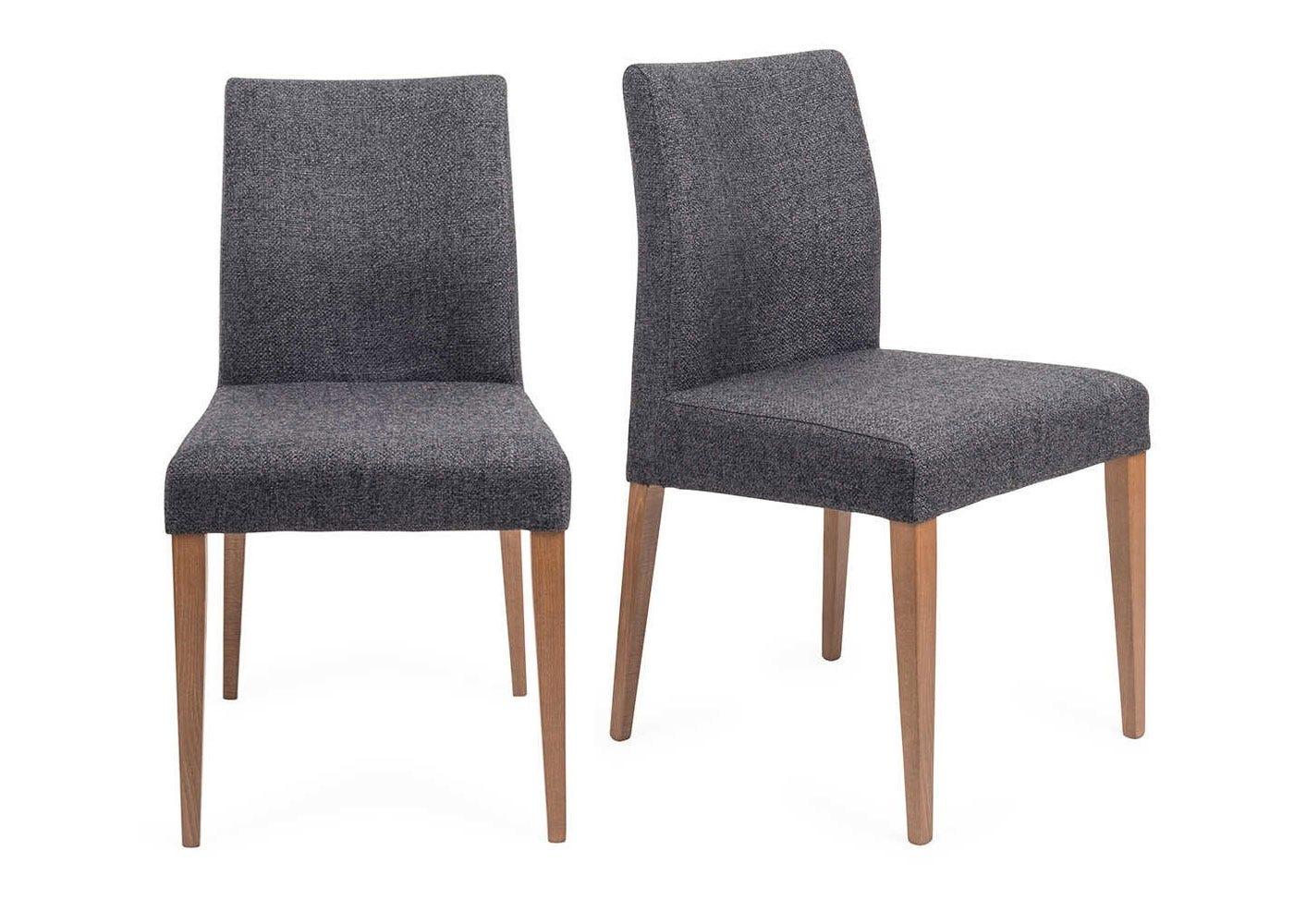Hudson Pair of Dining Chairs Volcano Coal Dark Stain Legs
