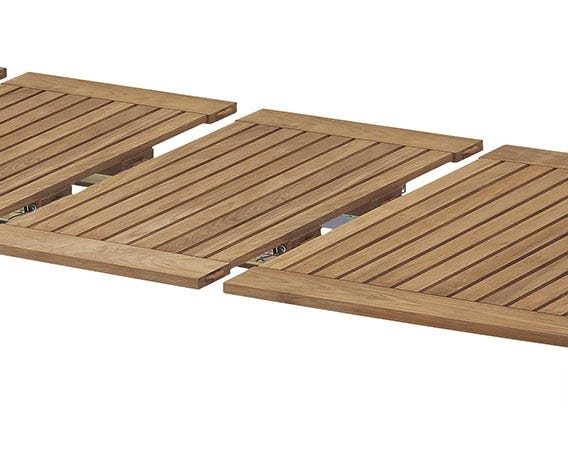A simple leaf system is stored beneath the tables, perfect for all party sizes. Black rubber joint between the tabletop slats give a maritime feel to the table.