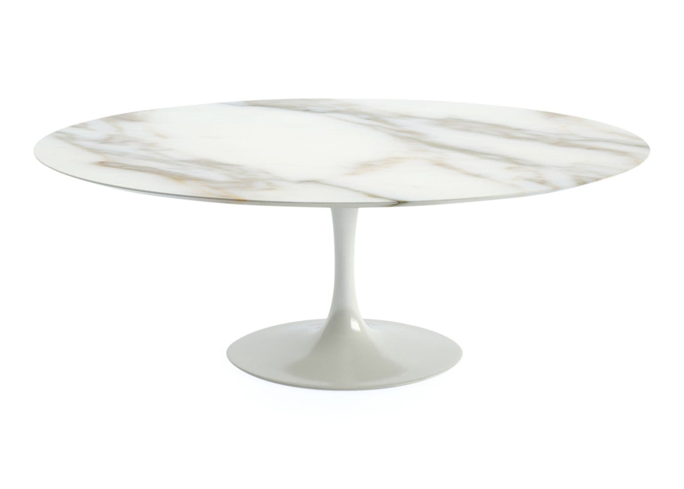 Saarinen Oval Dining Table Large With Calacatta Coated Marble Top