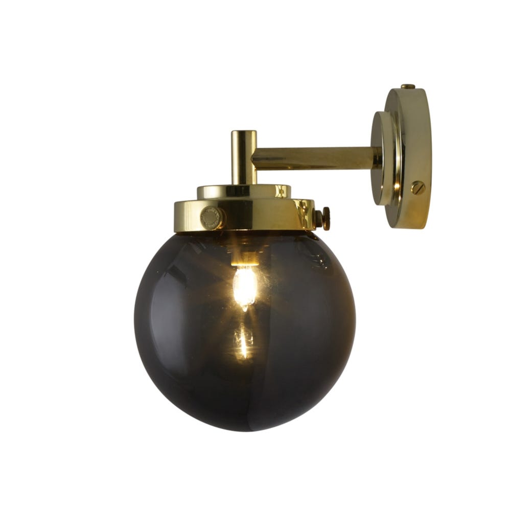 Mini Globe Wall Light Anthracite Shade Brass Fixture