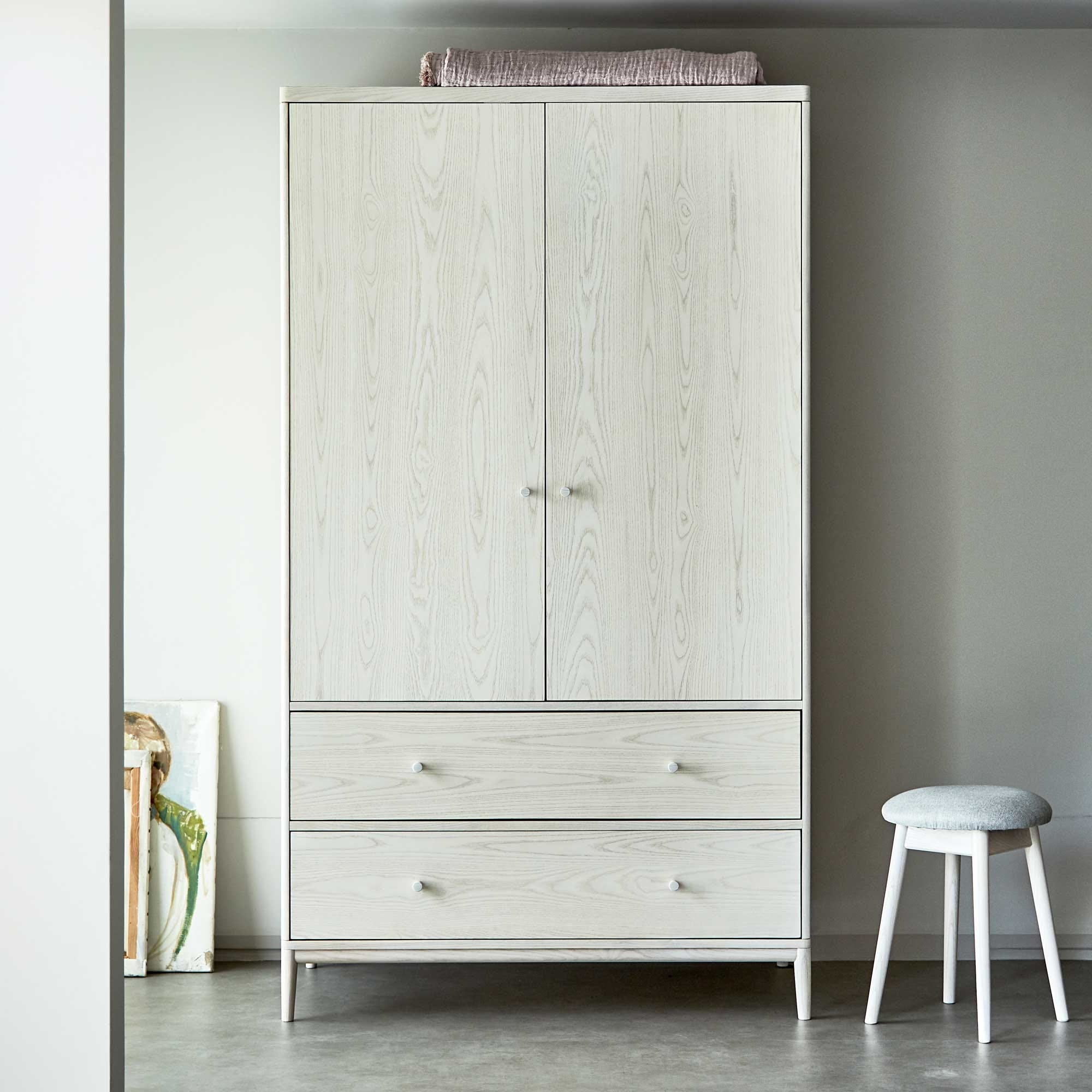As shown in image: Salina 2 door wardrobe, Salina stool.