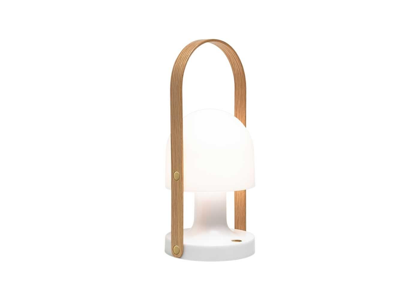 The Follow Me lamp has a swinging lampshade.