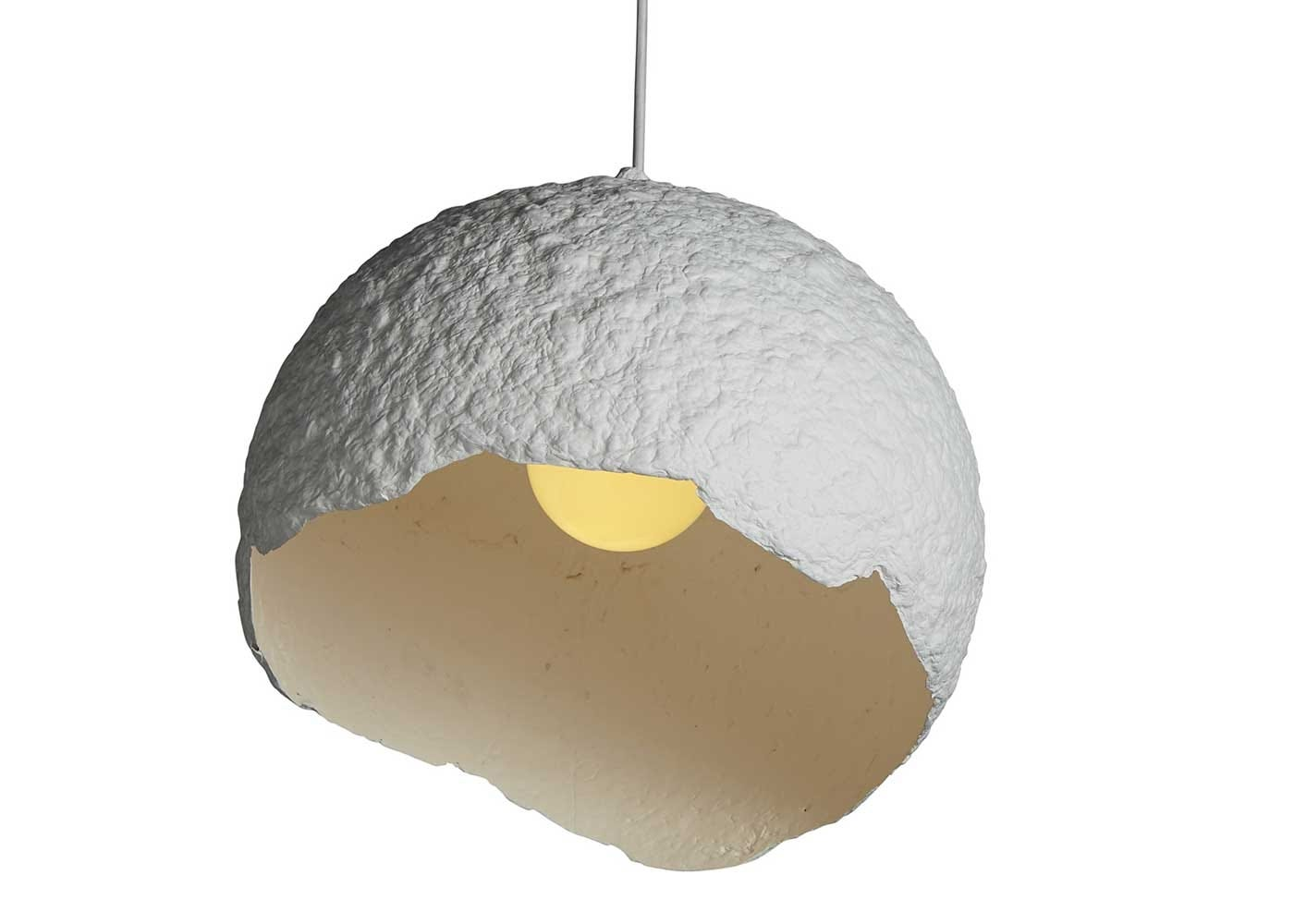 Rustic globe pendant zinc white interior