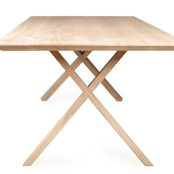 The Oslo table has a refined timber criss-cross base with beautiful angles.
