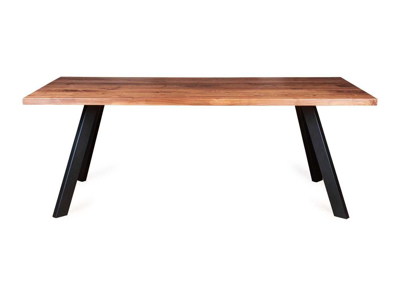 Madrid dining table in oiled walnut with a straight edge profile.