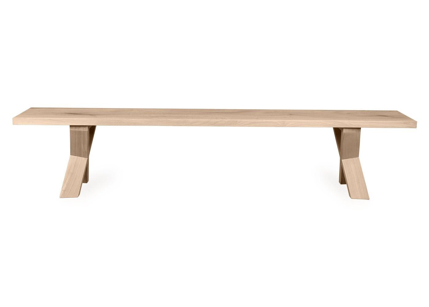 Oslo bench in white oak with a straight edge profile.