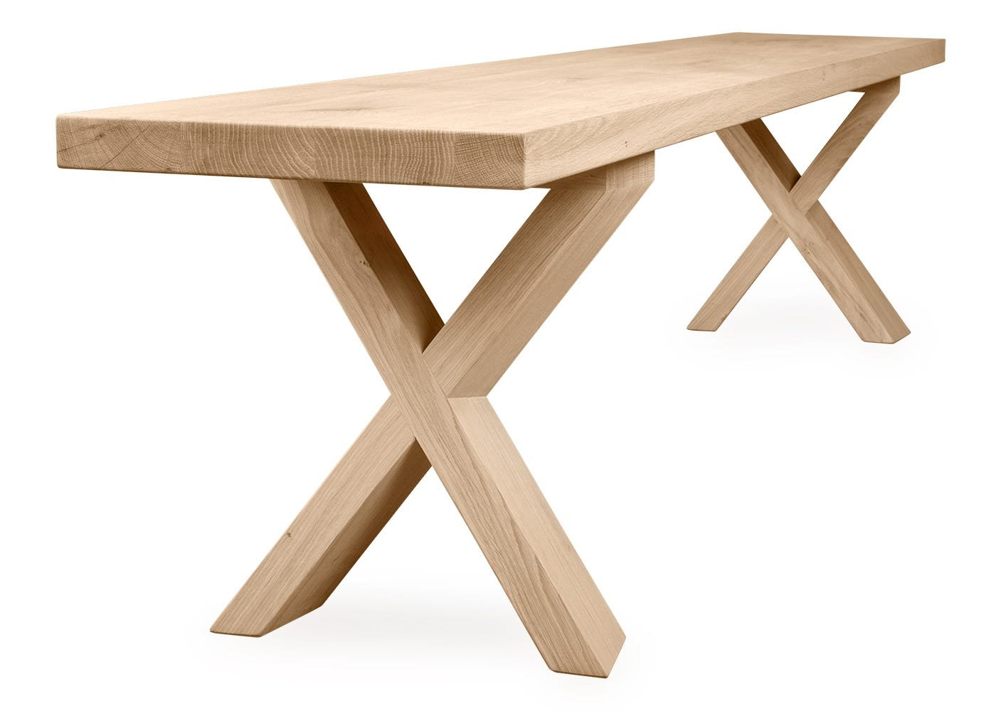 The Oslo bench has a criss-cross base.