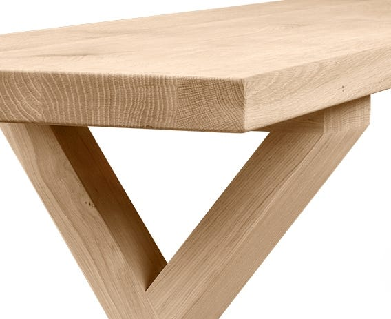 Solid oak bench top with a white oiled finish.