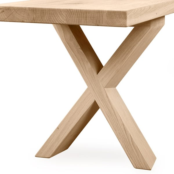 Timber criss-cross base with beautiful angles.