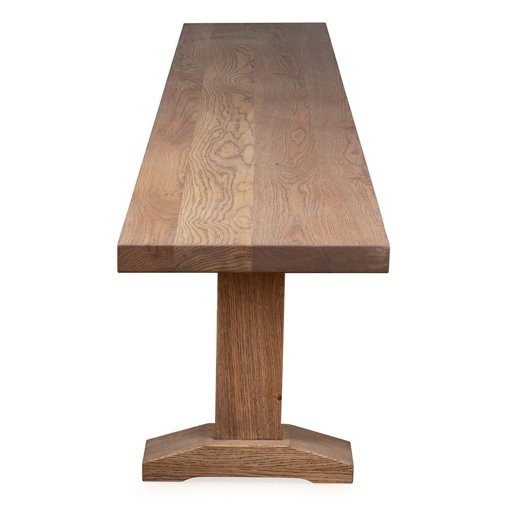 Solid oak surface.