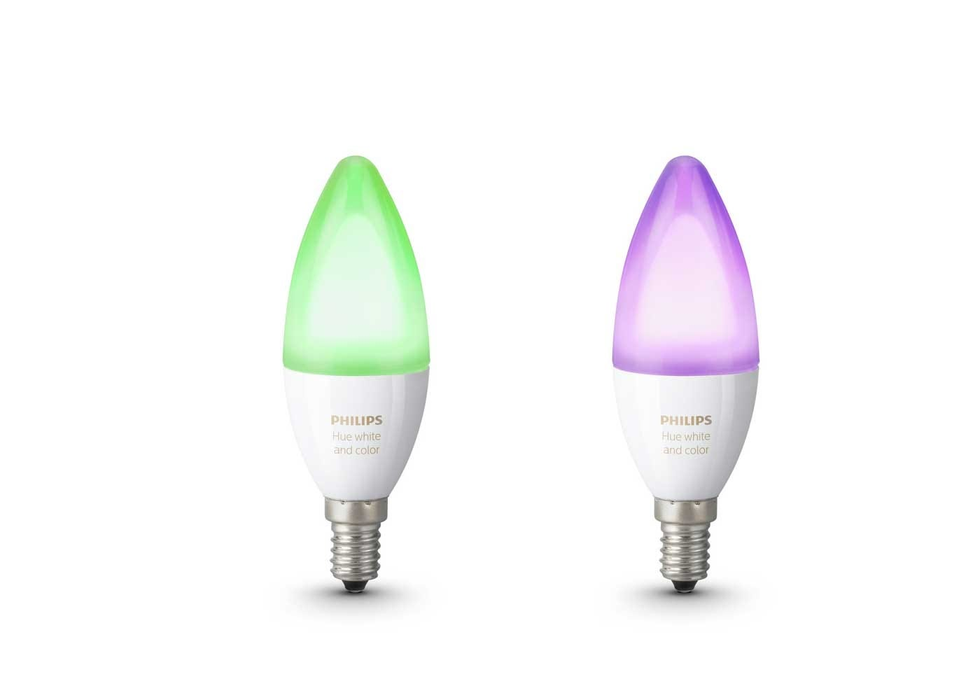 Use the Philips app to change the colour of these E14 bulbs