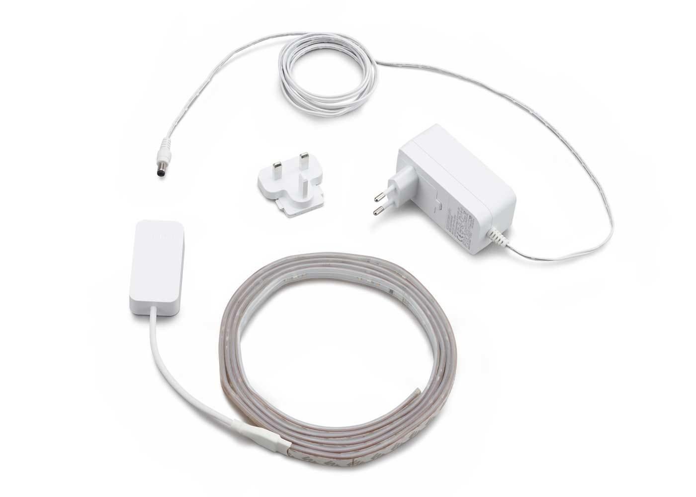 As shpwn in image: Hue 2m LightStrips, Power Adaptor UK, 1x Universal Adaptor
