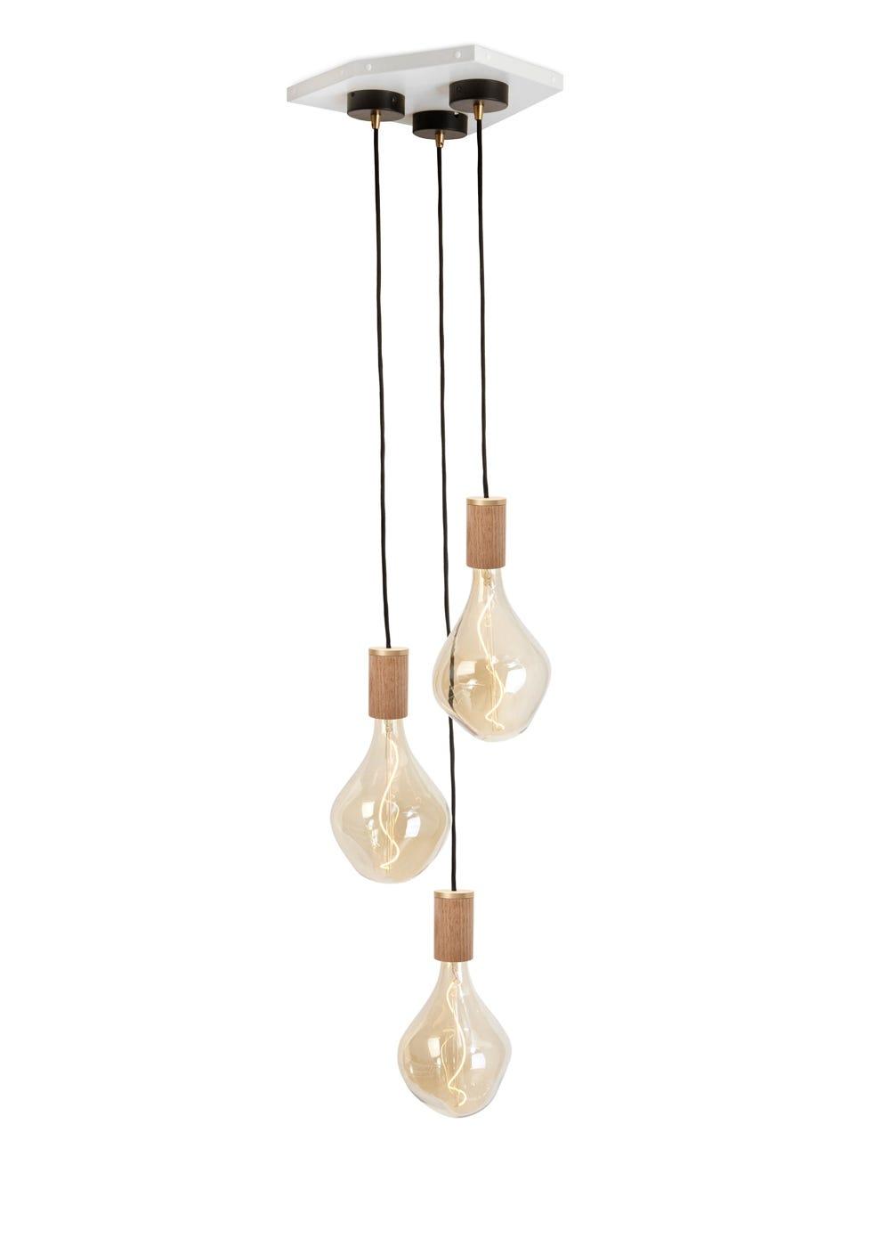 Voronoi II 3 bulb cluster with Knuckle pendant oak