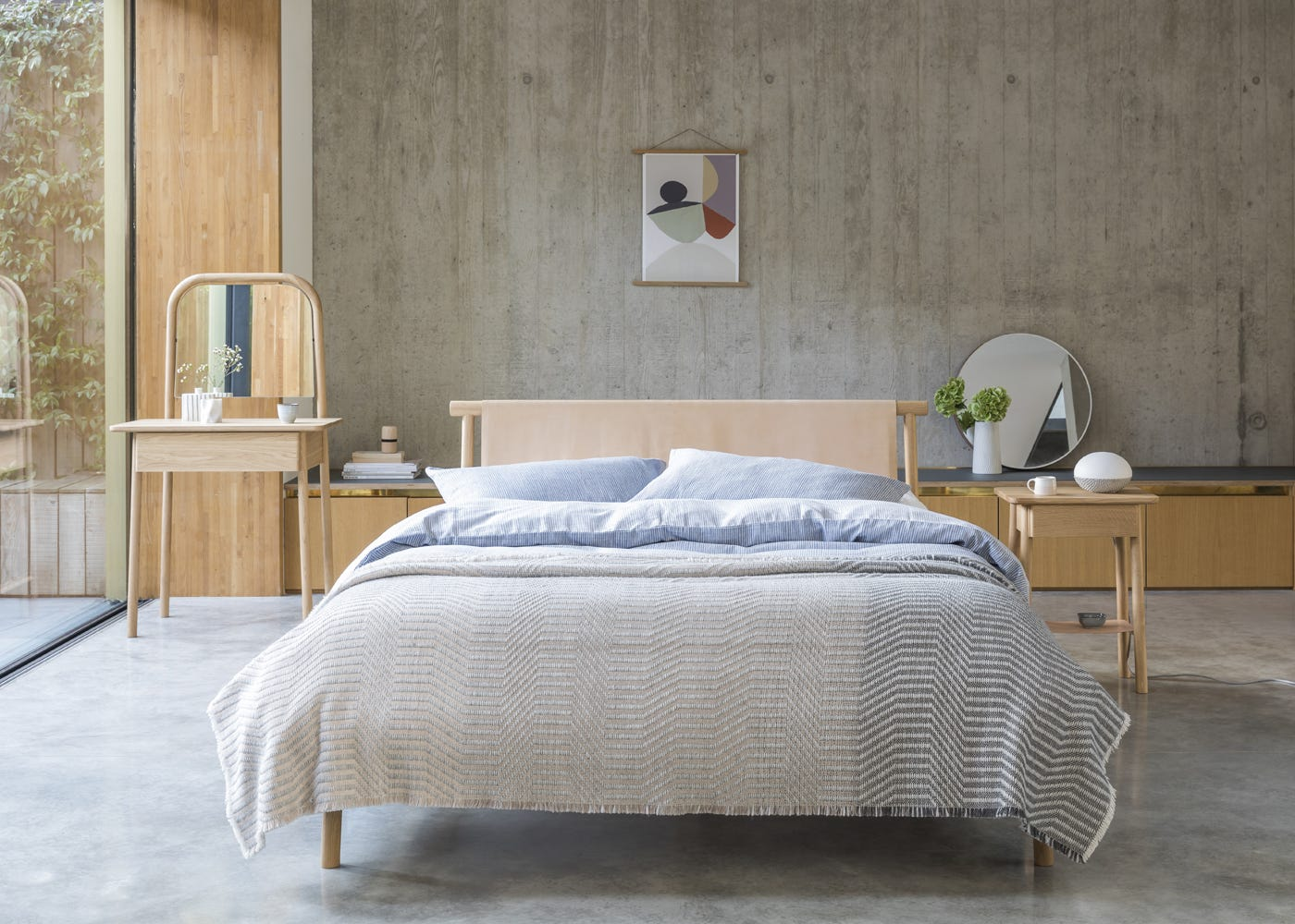 As shown: Eden king bed, eden dressing table, eden bedside table, konkurito table lamp