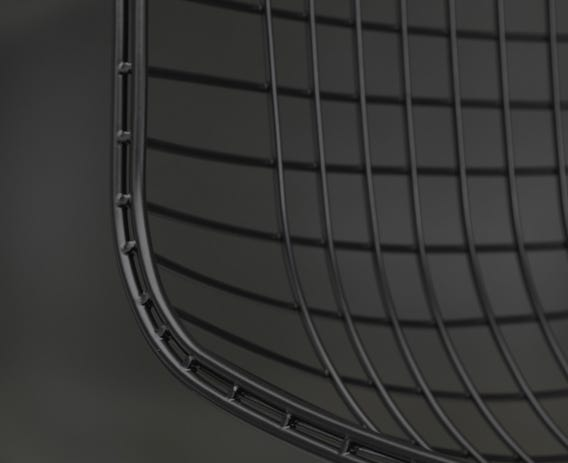 Bent and welded steel wire in a dark finish.