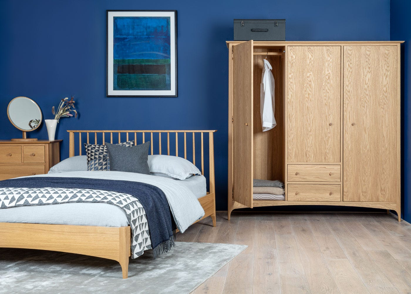 As shown: Blythe bed, Blythe 3 Door Wardrobe.