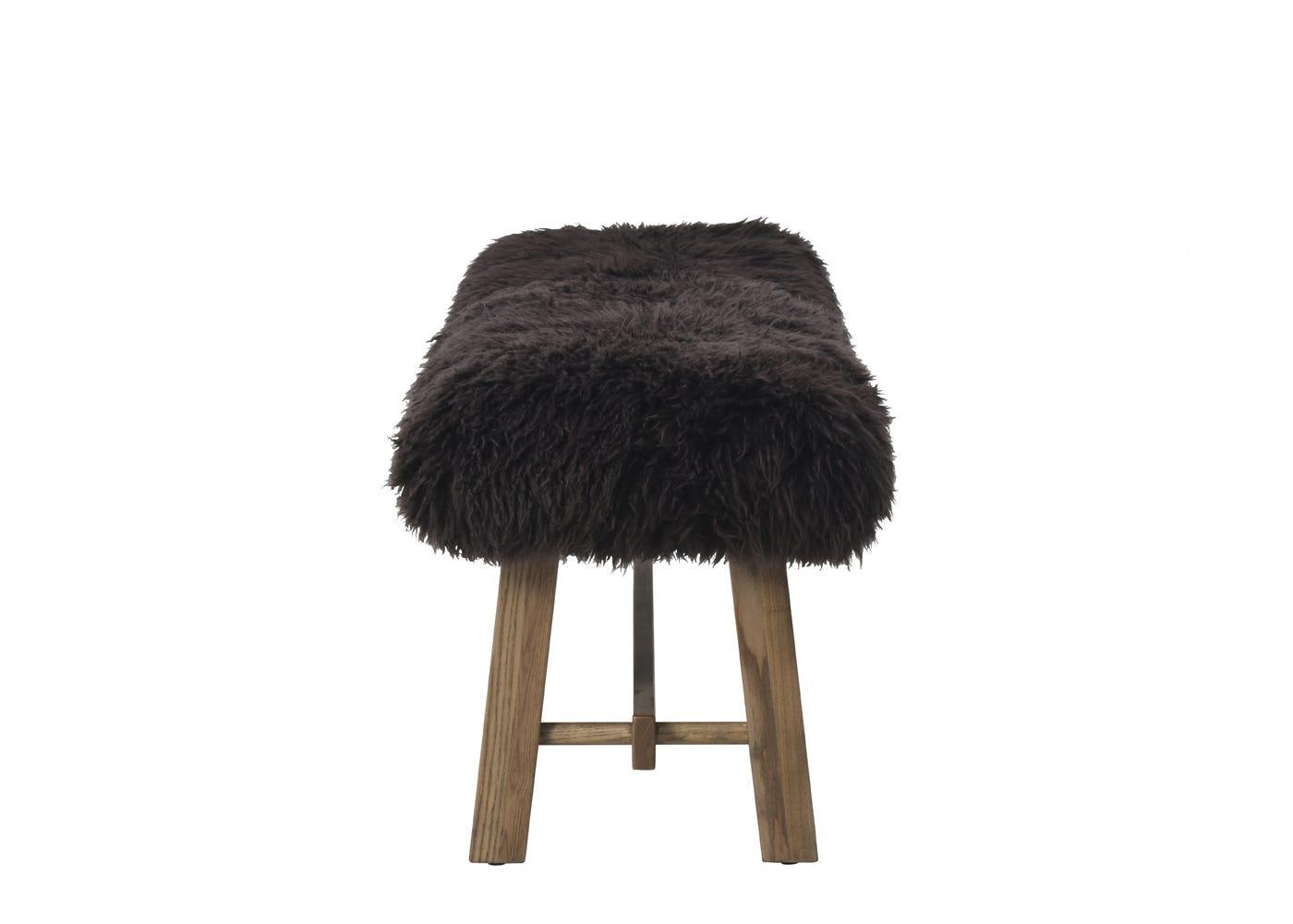 Cabin bench brown sheepskin
