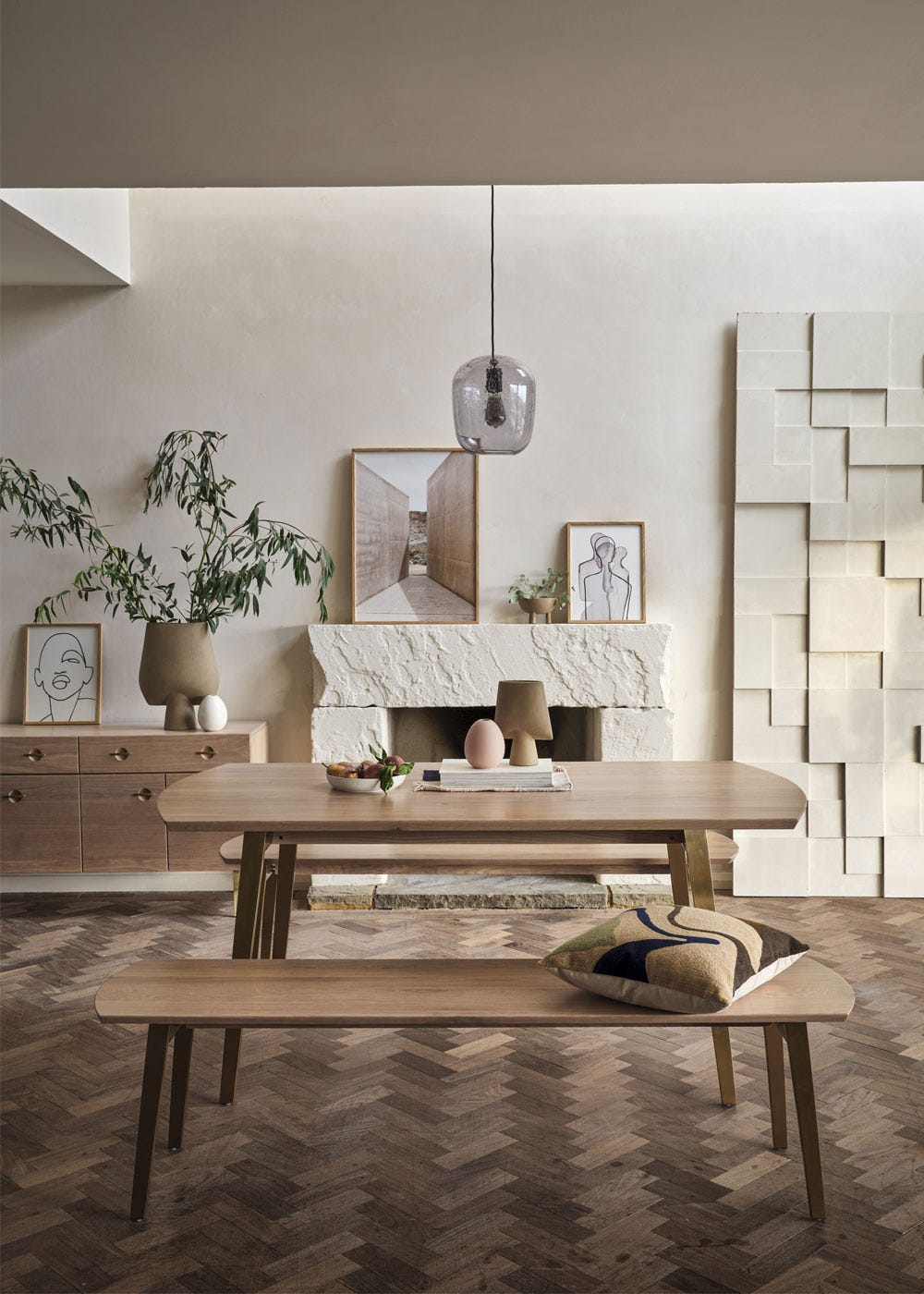 As shown: Crawford dining table and bench, bubble pendant