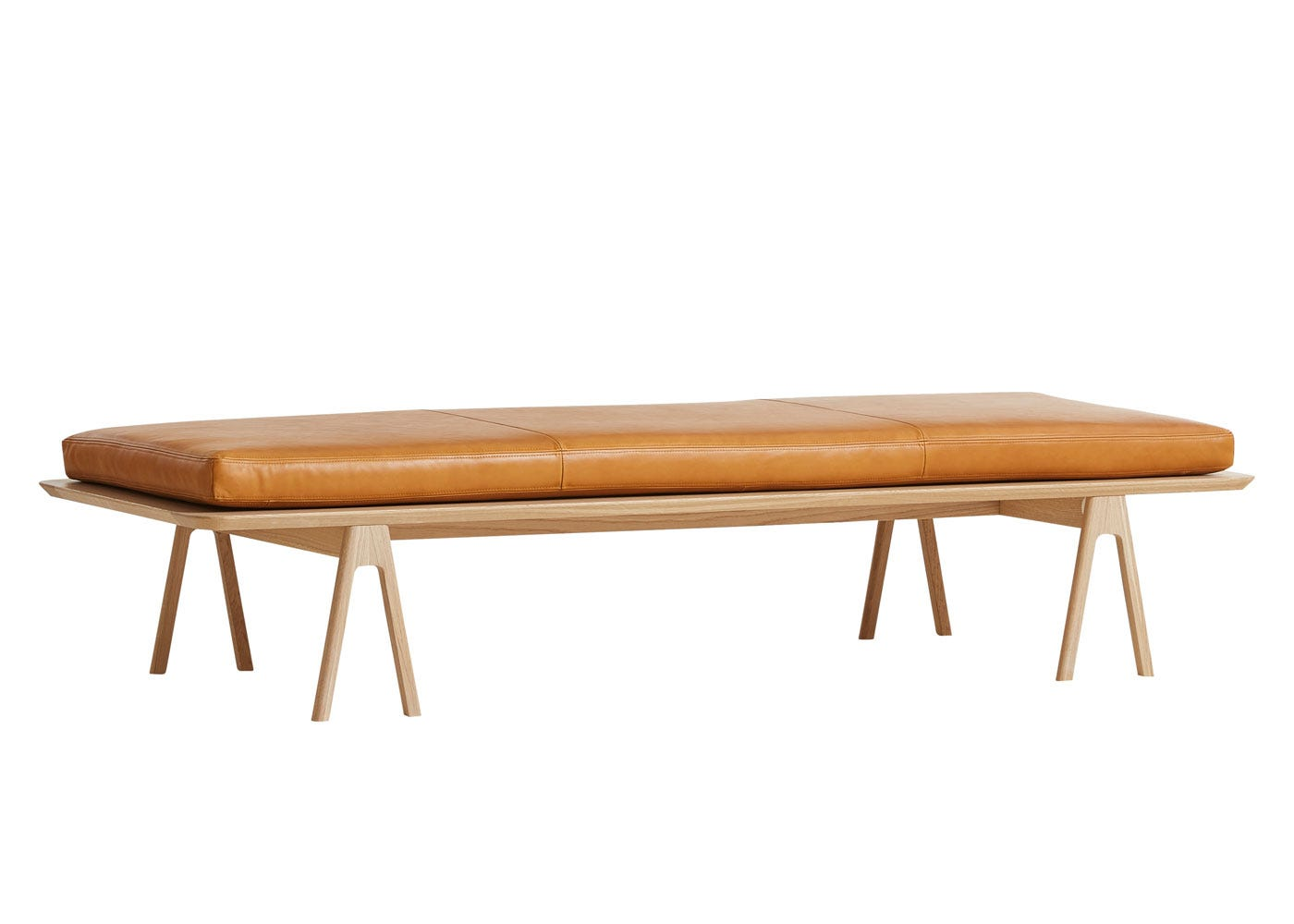 As shown: Level Daybed with light oak frame and cognac leather cushion.