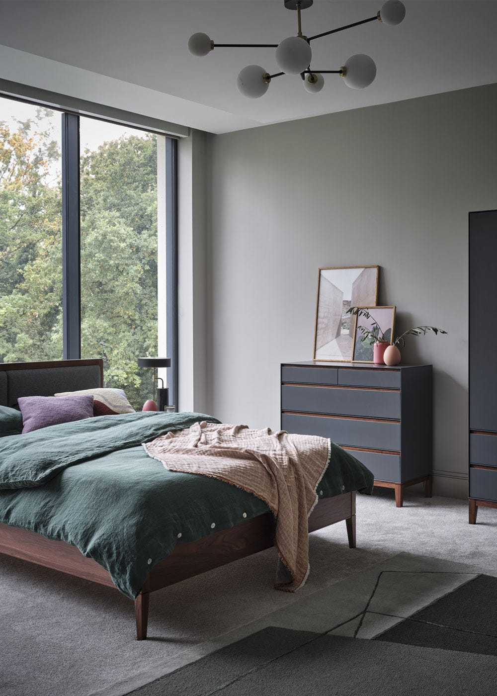 As shown: Balance Multi Arm Chandelier Flush, Lars Bedroom Collection.