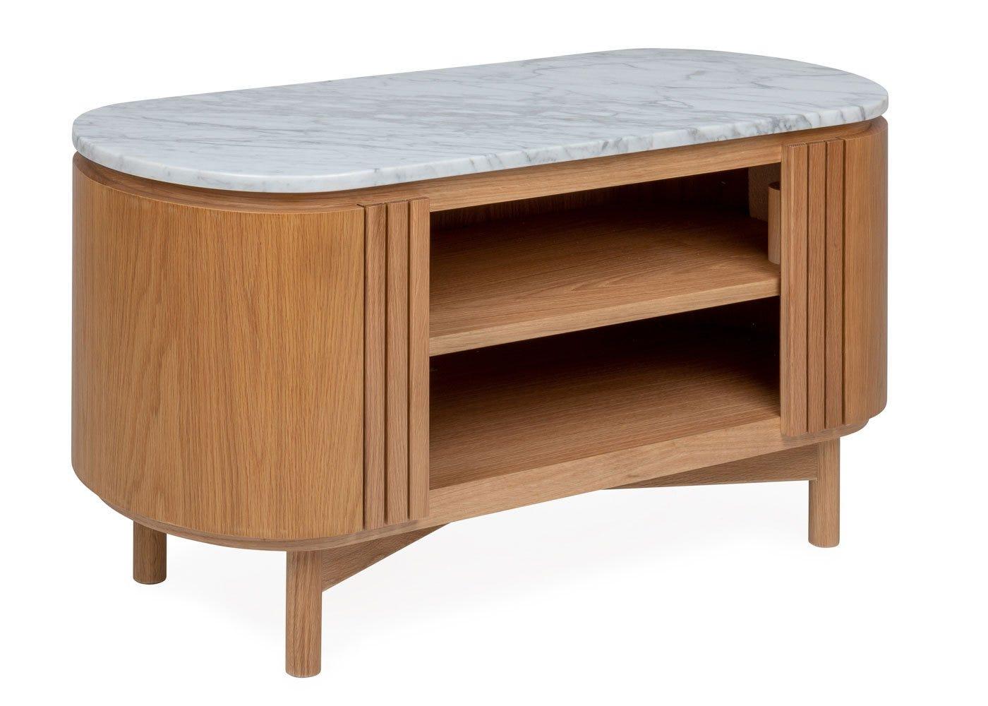 Remi AV unit oak and white marble top small.