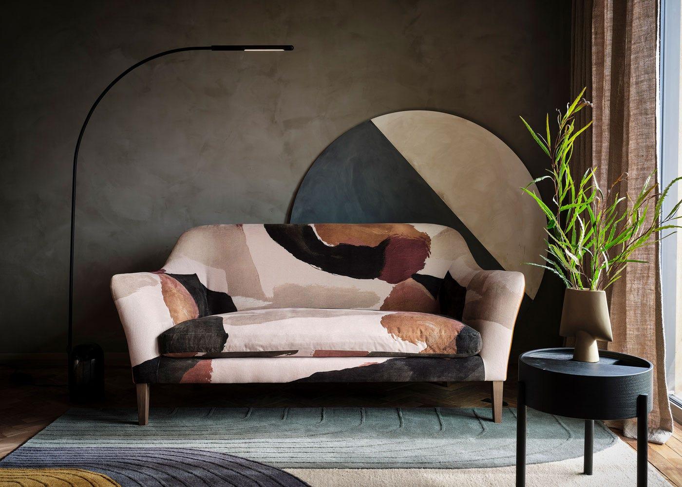 As shown: Contour LED Floor Lamp Black, Wallis Sofa.