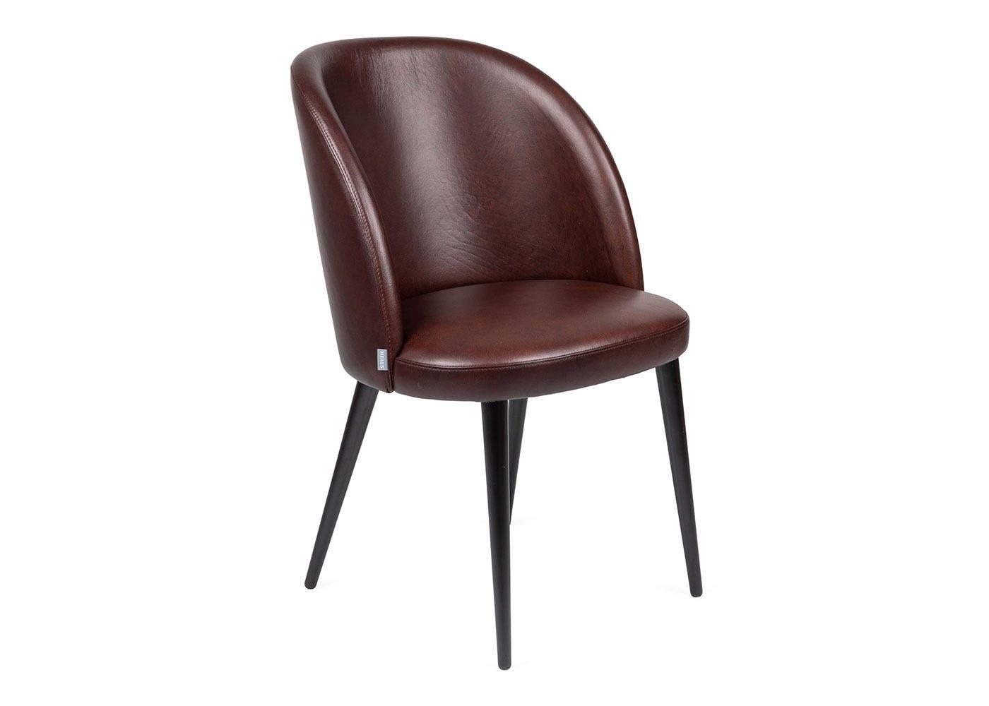 As shown: Austen leather dining chair dark brown