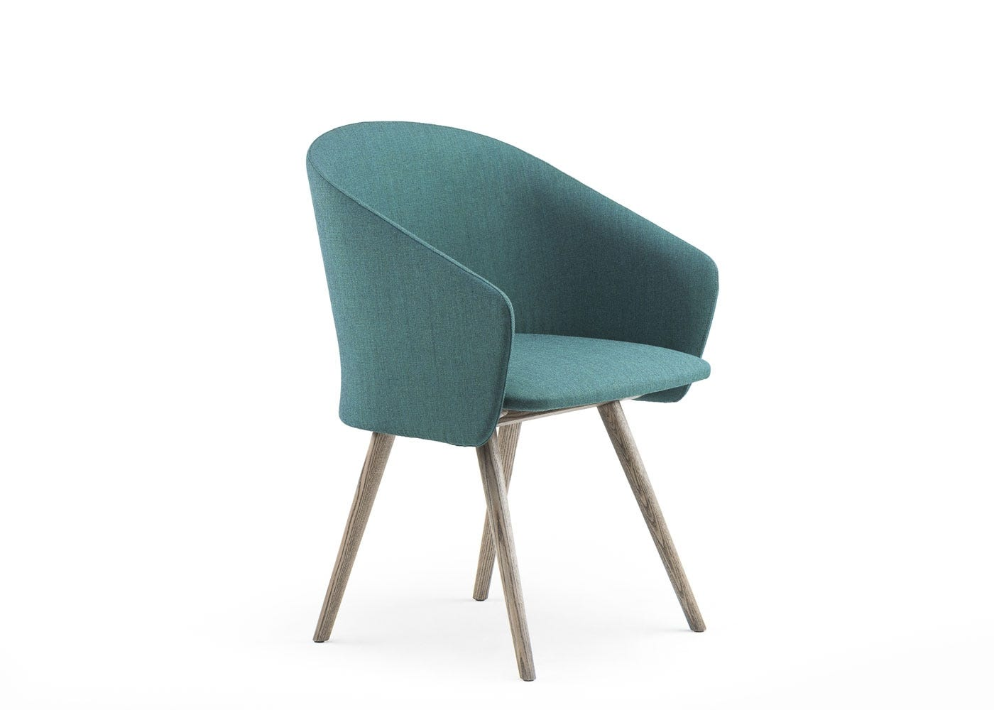 Saia dining chair upholstered in turquoise canvas - side view.