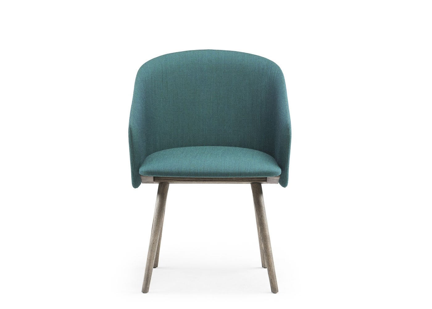 Saia dining chair upholstered in turquoise canvas - front view.