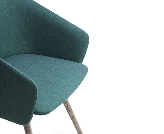 The fluid shell of the seat offers a supportive place in which to sit while working, dining or relaxing.