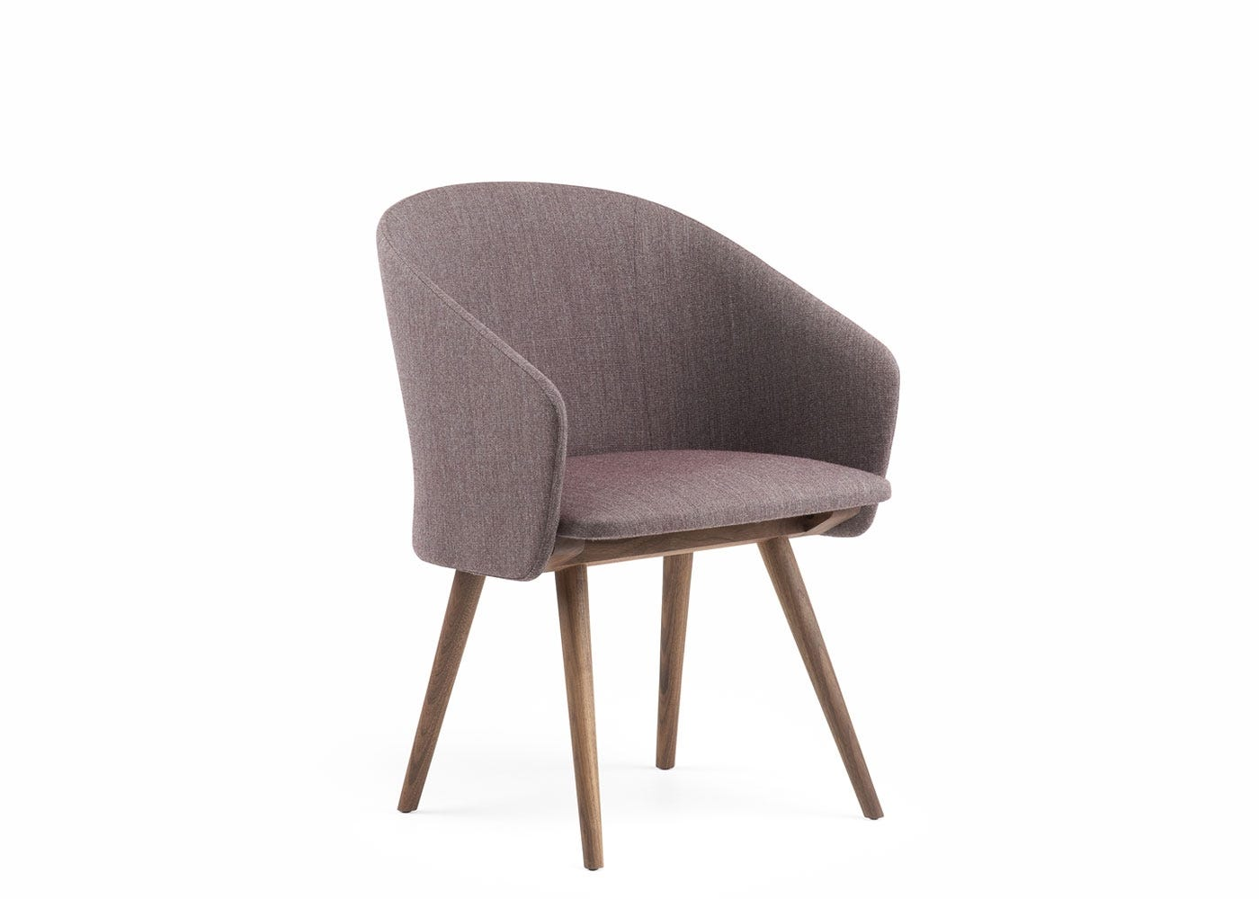 Saia dining chair upholstered in red foss - side view.