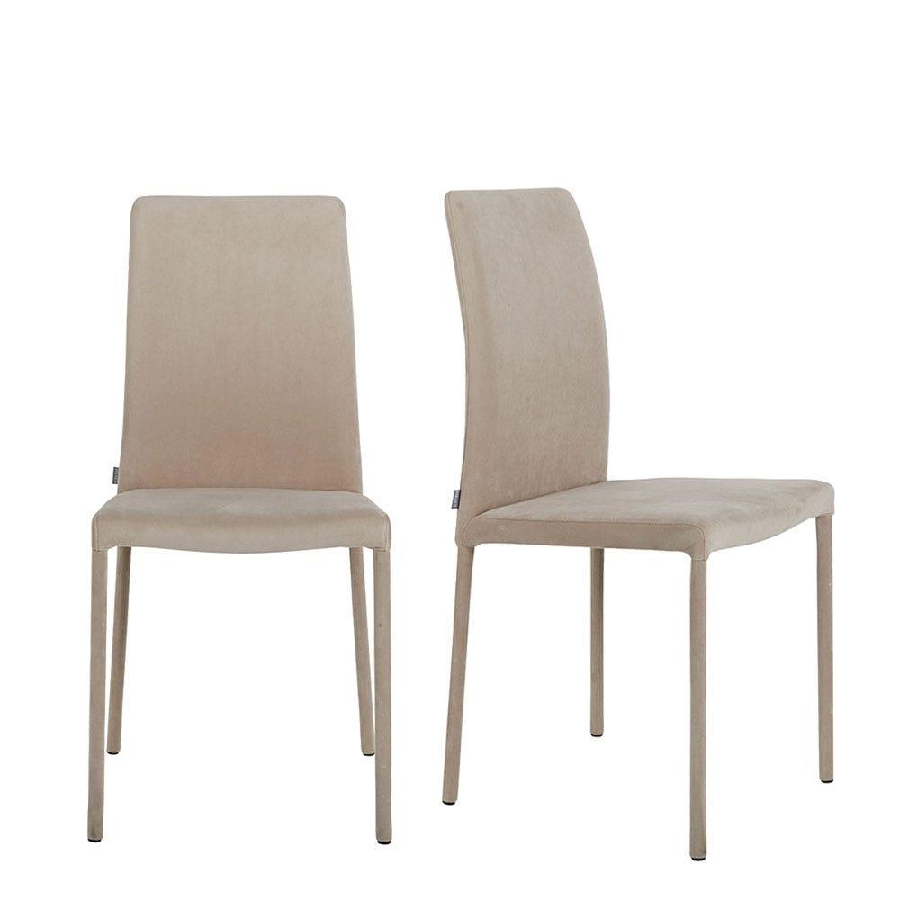 Bronte Pair of Dining Chairs Plush Velvet Platinum