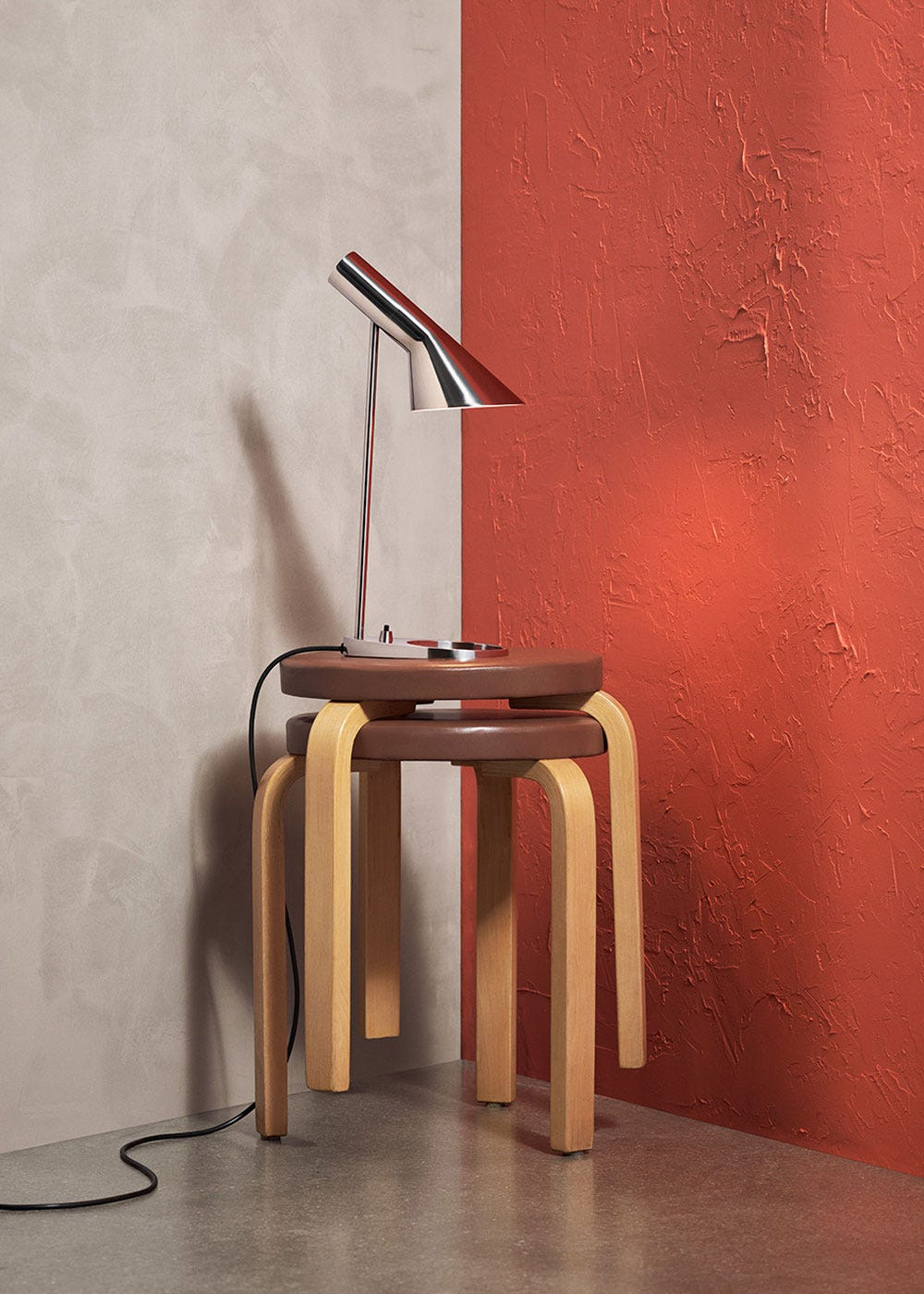 As shown: AJ Table Lamp Mini Polished Steel.