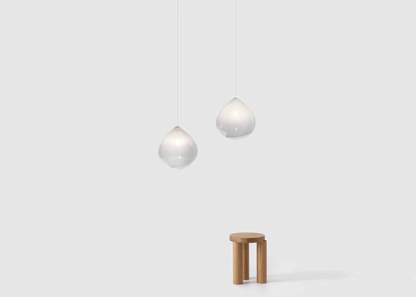 As shown: Parison Pendant Light White