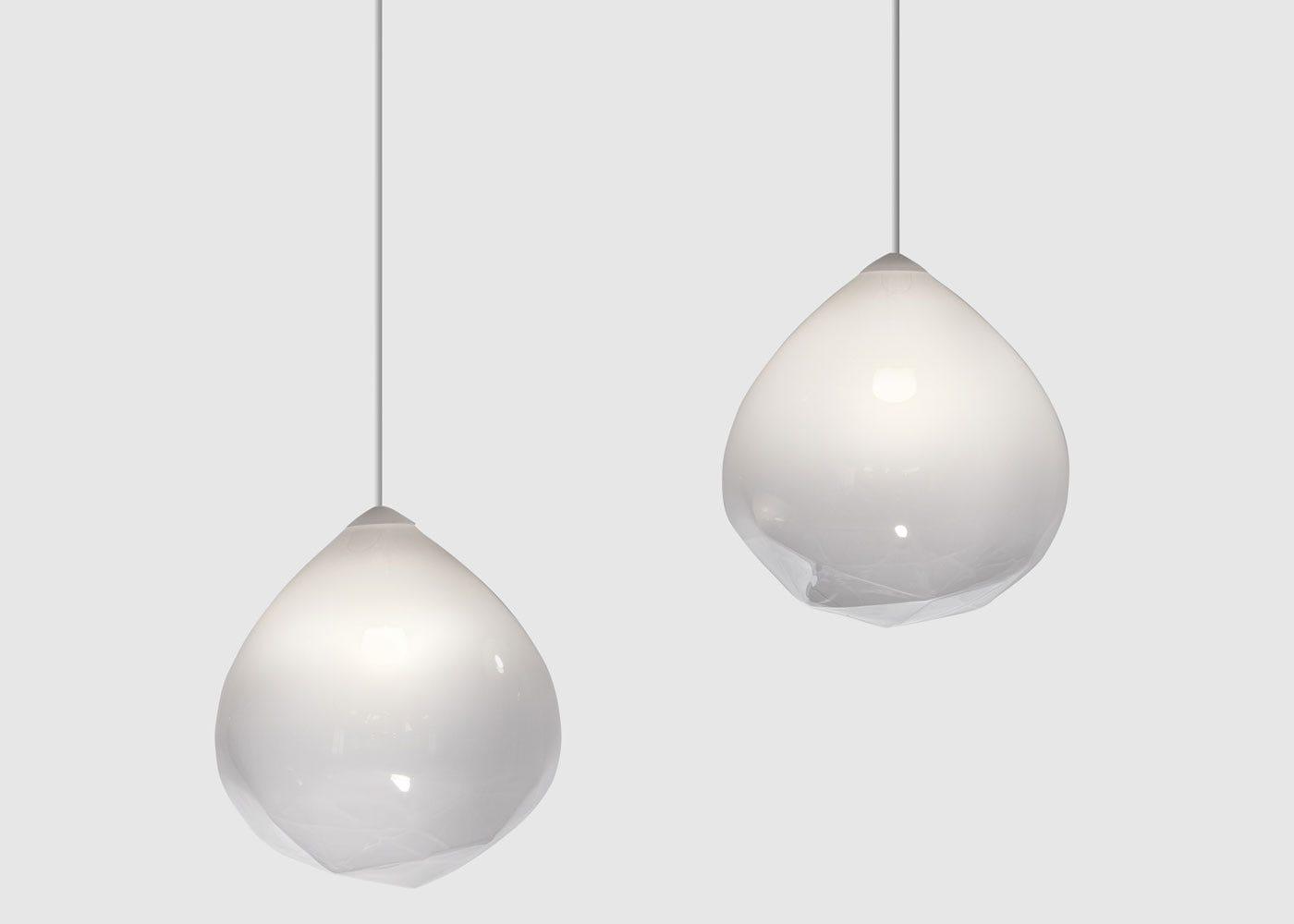 As shown: Parison Pendant Light White - On