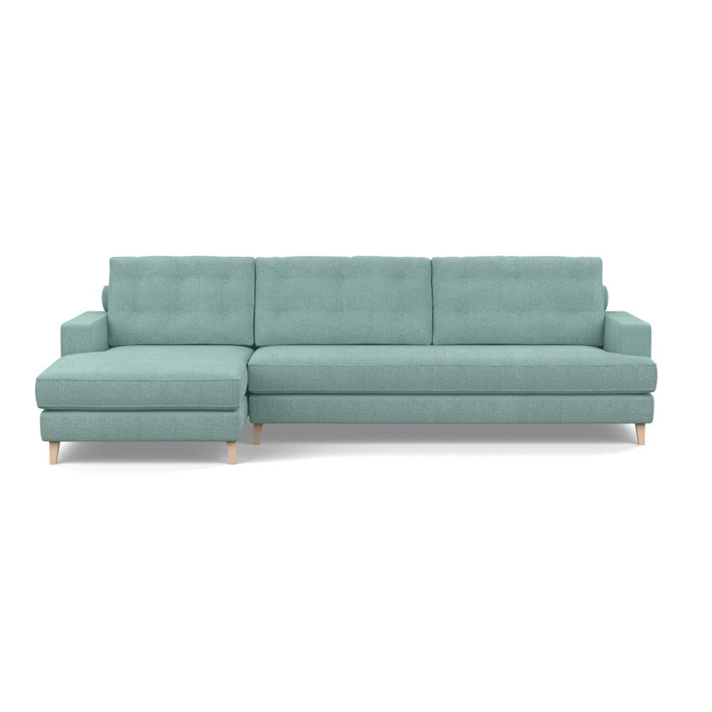 Mistral Left Hand Facing Corner Sofa Tejo Recycled Teal Natural Feet