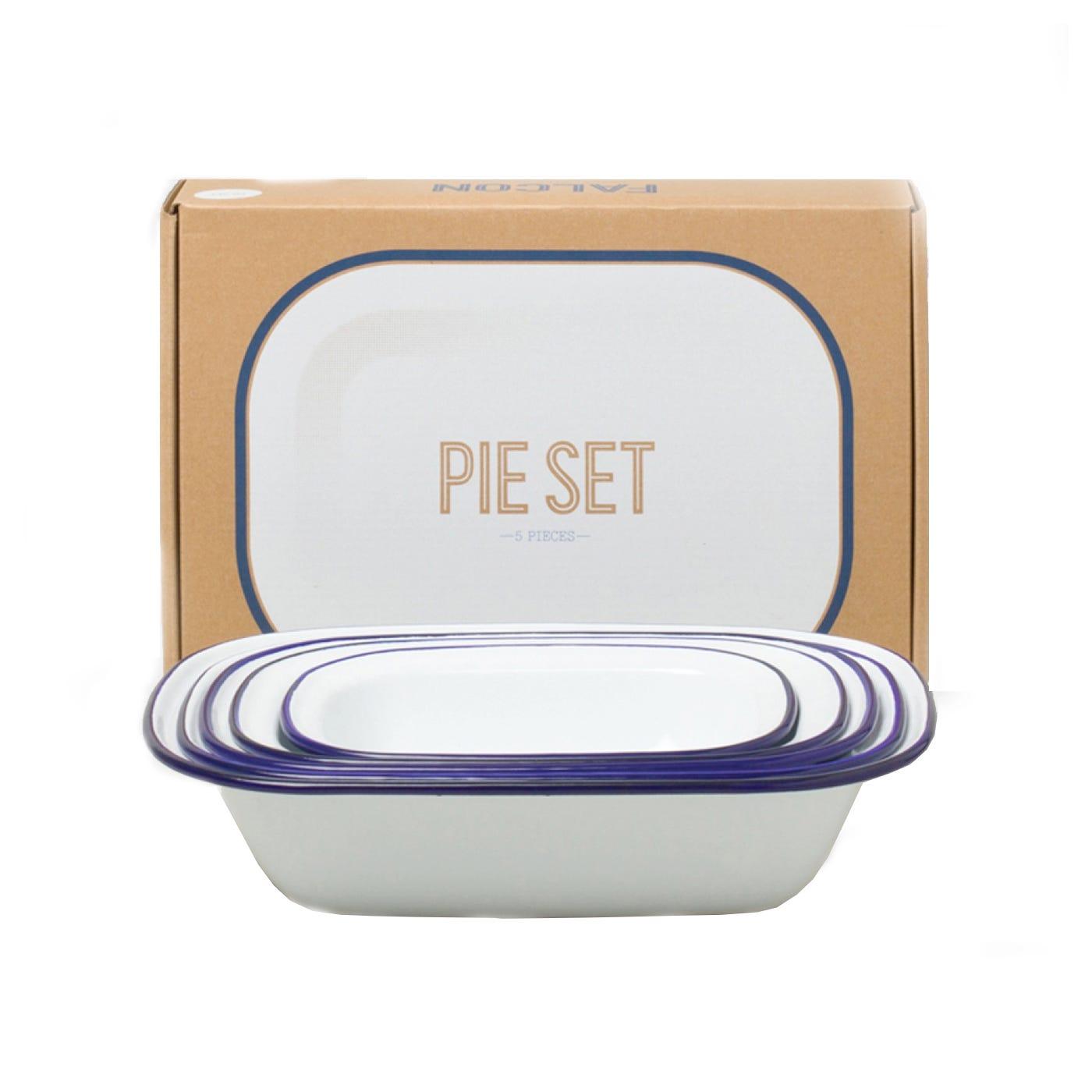 Falcon Original White With Blue Rim Pie Set